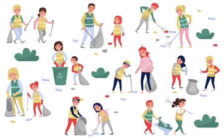 Volunteers gathering garbage and plastic waste for recycling set, parents and children taking part in garbage collection, environmental protection and education concept vector Illustrations isolated on a white background.