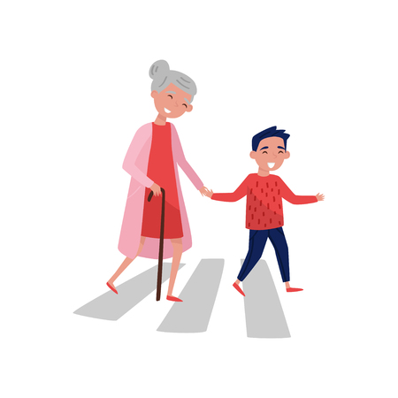 Beleefde jongen helpt oudere vrouw de weg over te steken. Vrolijk schooljong geitje en oude dame met wandelstok. Kind met goede manieren. Kleurrijke vectorillustratie in vlakke stijl geïsoleerd op een witte achtergrond.