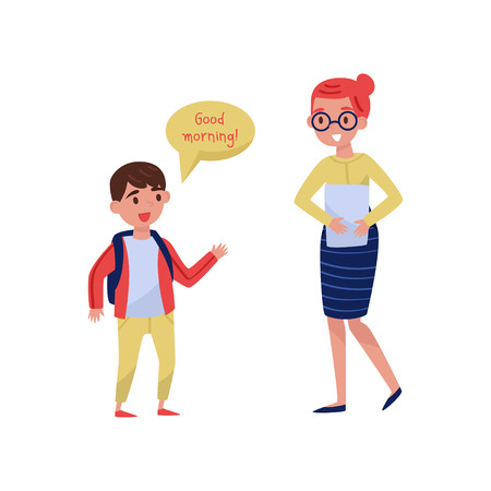 Cheerful school boy saying Good morning to his teacher. Good manners. Kid with backpack and woman with paper. Flat vector design Stockfoto