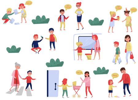 Insieme di vettore piatto di bambini educati in diverse situazioni. Ragazzi con buone maniere. Bambini e bambine che aiutano gli adulti