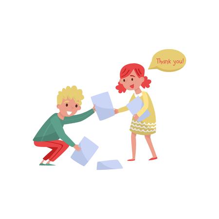Ragazzo sorridente che aiuta la ragazza a raccogliere la carta dal pavimento. Ragazzi con buone maniere. Disegno vettoriale piatto Archivio Fotografico