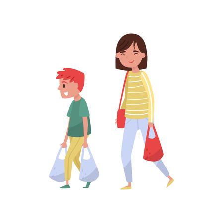 Kind helpt zijn moeder boodschappentassen te dragen. Beleefde jongen en jonge vrouw. Mensen stripfiguren. Kind met goede manieren. Kleurrijke vectorillustratie in vlakke stijl geïsoleerd op een witte achtergrond. Vector Illustratie