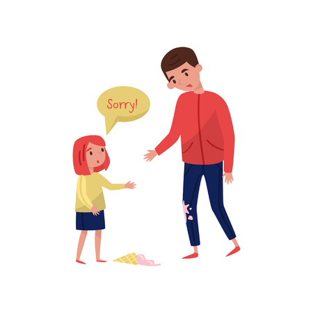 Polite little girl apologizing to young guy for soiled jeans, ice-cream laying on the floor. Child with good manners. Cartoon people characters. Colorful flat vector illustration isolated on white.