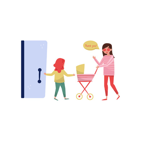 Little girl open the door to young mom with baby carriage. Kid with good manners. Politeness theme. Cartoon people characters. Colorful vector illustration in flat style isolated on white background.