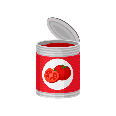 Open aluminum can of delicious tomato soup or paste. Canned food. Natural and tasty product. Graphic element for promo poster or banner. Colorful vector illustration in flat style isolated on white.