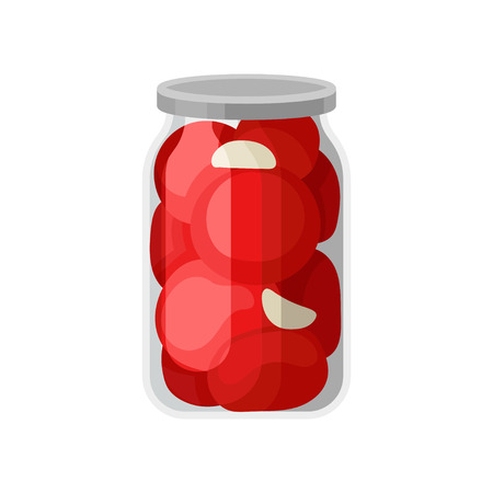 Cartoon illustration of canned tomatoes in glass jar with gray lid. Marinated vegetables in transparent bank. Tasty homemade product. Colorful vector icon in flat style isolated on white background.