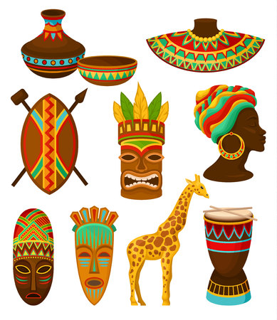 Collection of authentic symbols of Africa, crockery, weapon, mask, drum with traditional ethnic ornament vector Illustrations isolated on a white background.