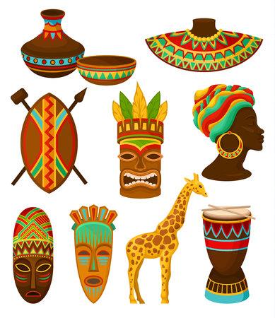 Colección de auténticos símbolos de África, vajilla, arma, máscara, tambor con ilustraciones de vectores de adornos étnicos tradicionales aisladas sobre fondo blanco.