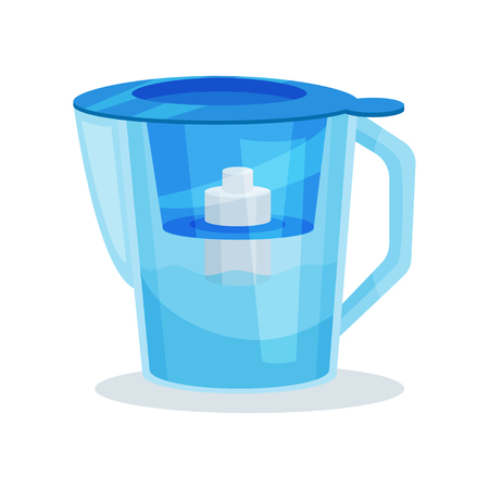 Blue glass water pitcher with purifier cartridge and handle. Transparent filter jug. Kitchen utensil. Element for advertising of household goods store. Flat vector design isolated on white background.