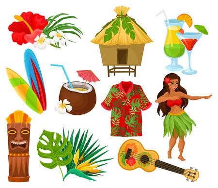 Símbolos tradicionales del conjunto de la cultura hawaiana, flor de hibisco, bungalow, tabla de surf, máscara tribal tiki, ukelele, cócteles exóticos vector ilustraciones aisladas sobre fondo blanco.