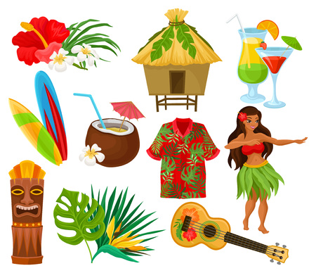 Traditional symbols of Hawaiian culture set, hibiscus flower, bungalow, surfboard, tiki tribal mask, ukulele, exotic cocktails vector Illustrations isolated on a white background.