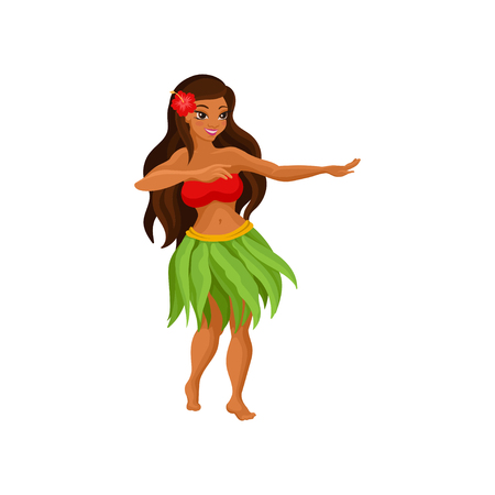 Hawaiian girl in grass skirt dancing and hibiscus flower in her hair vector Illustration isolated on a white background.
