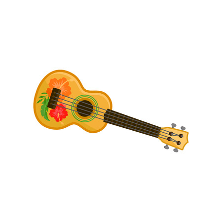Ukulele, Hawaian National musical instrument vector Illustration isolated on a white background. Vector Illustration
