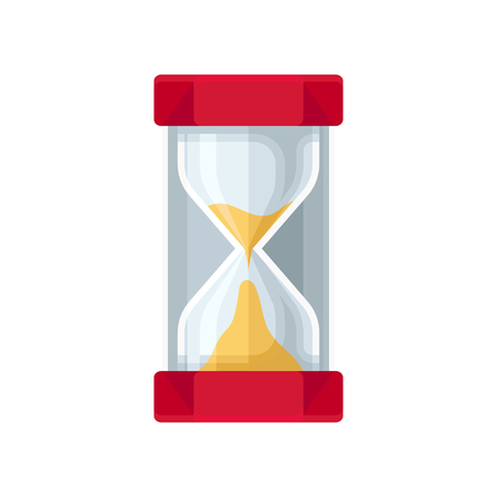 Modern sand hourglass, sandglass device for measuring time vector Illustration isolated on a white background.  イラスト・ベクター素材