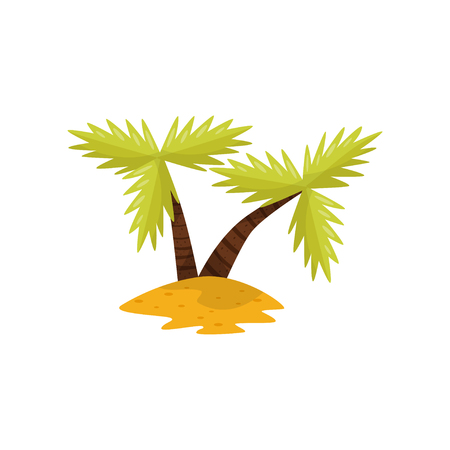Beautiful tropical palm trees vector Illustration isolated on a white background.