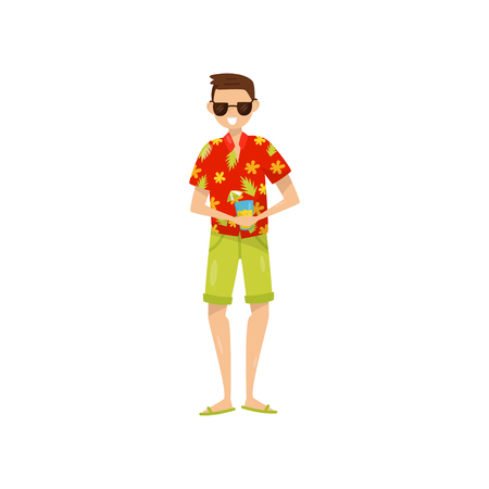 Happy young man in sunglasses and Hawaiian aloha shirt enjoying vacations and drinking cocktail vector Illustration isolated on a white background.