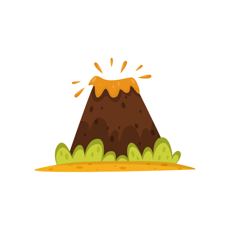 Volcano eruption vector Illustration isolated on a white background.