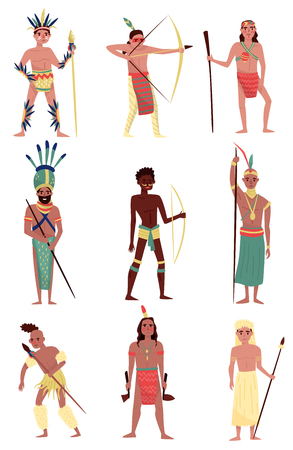 Armed native people set, American Indian, African tribe member, Australian Aboriginal characters vector Illustrations isolated on a white background. Vettoriali