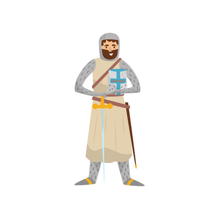 Medieval knight warrior character vector Illustration on a white background