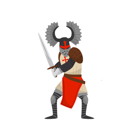 Medieval Templar armored knight warrior character with sword vector Illustration on a white background Vector Illustration