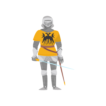 Medieval armored knight warrior character with weapon vector Illustration on a white background Illustration