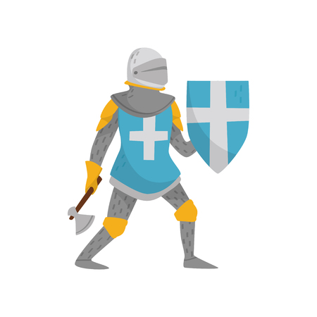 Medieval armored knight warrior character holding blue shield with white cross and axe vector Illustration on a white background