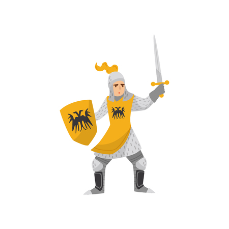 Medieval armored knight warrior character fighting with shield and sword vector Illustration on a white background Vector Illustration