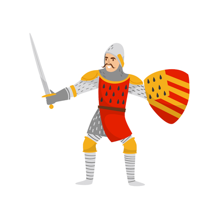 Medieval armored knight warrior character with shield and sword vector Illustration on a white background