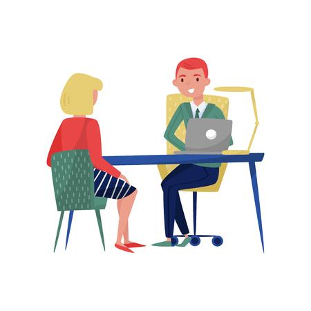 Nieuwe vrouwelijke werknemer aanvrager en baas bijeenkomst op zijn kantoor, werkzoekende en werkgever zitten aan de tafel en praten vector illustratie geïsoleerd op een witte achtergrond.