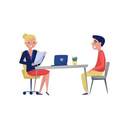 Junger Mann, der ein Vorstellungsgespräch mit einem HR-Spezialisten, einem Arbeitssuchenden und einem Arbeitgeber hat, der am Tisch sitzt und die Vektorillustration lokalisiert auf einem weißen Hintergrund spricht.