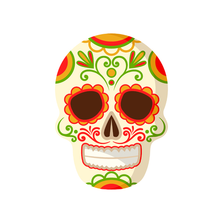 Sugar skull with floral ornament, symbol of Mexico vector Illustration isolated on a white background. Vectores