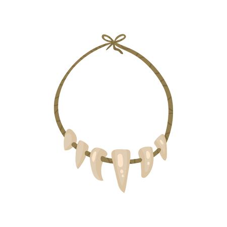 Collar con dientes, vector de símbolo de la edad de piedra ilustración aislada sobre fondo blanco.