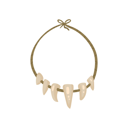 Necklace with Teeth, stone age symbol vector Illustration isolated on a white background.