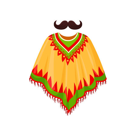 Poncho and moustache, symbols of Mexico vector Illustration on a white background