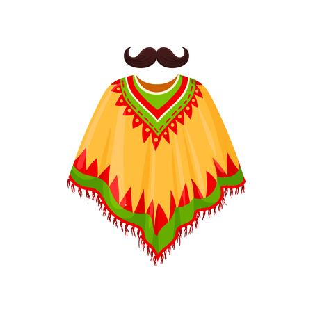 Poncho y bigote, símbolos del vector de México ilustración sobre un fondo blanco