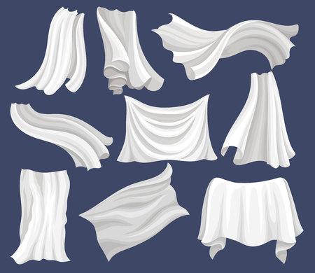 Set van witte stof. Zijden laken. Lange gordijnen die op de wind vliegen. Grafische elementen voor reclameposter of spandoek van textielwinkel. Vectorillustraties in vlakke stijl geïsoleerd op een grijze achtergrond