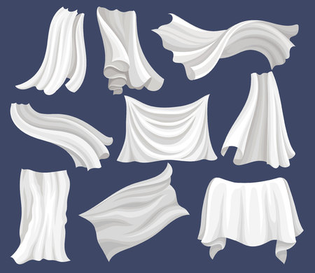 Set of white cloth. Silk bed sheet. Long curtains flying on the wind. Graphic elements for advertising poster or banner of textile store. Vector illustrations in flat style isolated on gray background Illustration