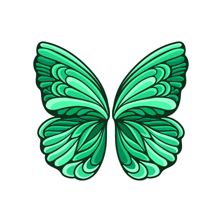 Illustration of small green butterfly wings with beautiful pattern and black contour. Colorful graphic element for postcard or poster. Cartoon vector icon in flat style isolated on white background. 스톡 콘텐츠 - 111582871