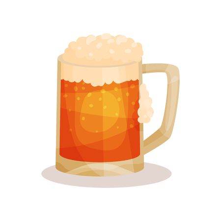 Cartoon style icon of draft beer with foam. Alcoholic beverage in big glass mug with handle. Graphic element for advertising poster or flyer. Flat vector illustration isolated on white background. 向量圖像