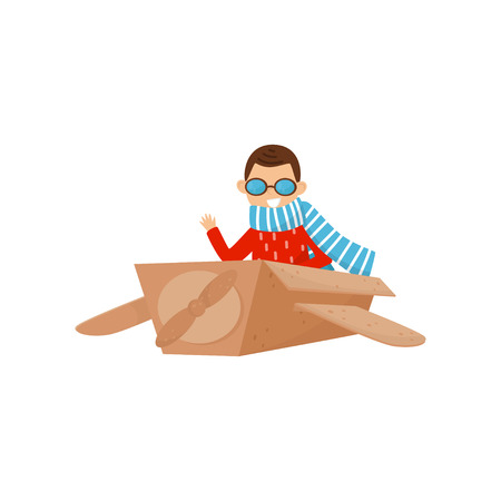 Little smiling boy playing with plane made of cardboard box. Kid dream to becoming pilot. Role play. Cartoon child character. Colorful vector illustration in flat style isolated on white background. Illustration