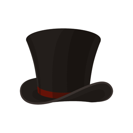 f8a0caabc59 Cartoon style icon of male cylinder top hat. Broad-brimmed black hat  decorated with