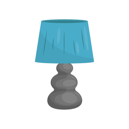 Flat vector icon of small bedside lamp with gray stand and blue lampshade. Modern home decor element 스톡 콘텐츠