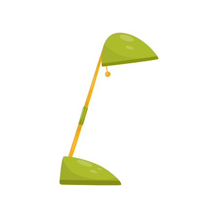 Green metal table lamp. Element for office decor. Flat vector design for advertising poster or banner of store