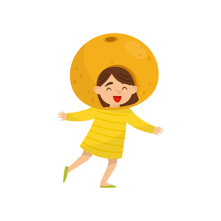 Adorable little girl in fruit headwear. Orange costume. Kindergarten theme. Flat vector design