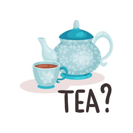 Théière et tasse en porcelaine bleue avec du thé frais. Boisson britannique traditionnelle. Élément graphique pour livre ou affiche. Illustration de style dessin animé. Conception de vecteur plat coloré isolé sur fond blanc.