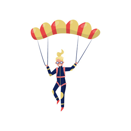 Smiling woman flying with parachute. Cartoon character of young girl. Professional skydiver. Extreme sport. Active recreation. Colorful vector illustration in flat style isolated on white background. 일러스트