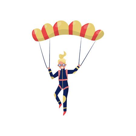 Lächelnde Frau, die mit Fallschirm fliegt. Zeichentrickfigur des jungen Mädchens. Professioneller Fallschirmspringer. Extremsport. Aktive Erholung. Bunte Vektorillustration im flachen Stil lokalisiert auf weißem Hintergrund. Vektorgrafik