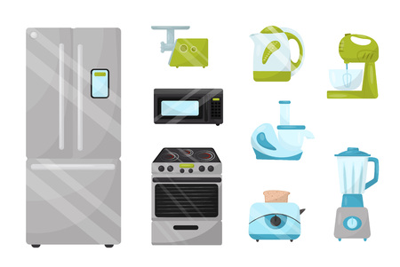 Set of kitchen electronic appliances. Household items. Modern technology. Colorful graphic elements for advertising poster of home goods store. Flat vector illustrations isolated on white background.