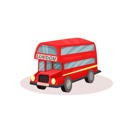 Illustration of bright red double decker bus. Popular public transport in London. Famous symbol of England. Colorful graphic element for travel poster. Flat vector icon isolated on white background.