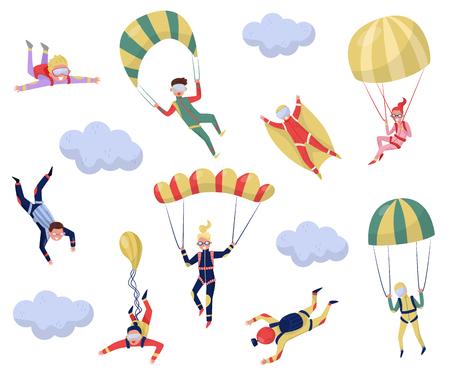 Satz professionelle Fallschirmspringer. Extremsport. Junger Wingsuit-Pullover. Aktive Erholung. Zeichentrickfigur von glücklichen Jungs und Mädchen. Thema Fallschirmspringen. Flaches Vektordesign isoliert auf weißem Hintergrund. Vektorgrafik